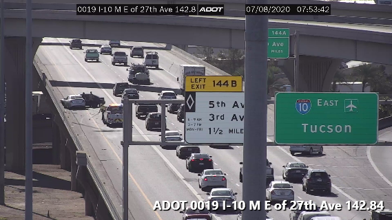 I-10 EB near the Stack: A crash is blocking the HOV lane. #phxtraffic