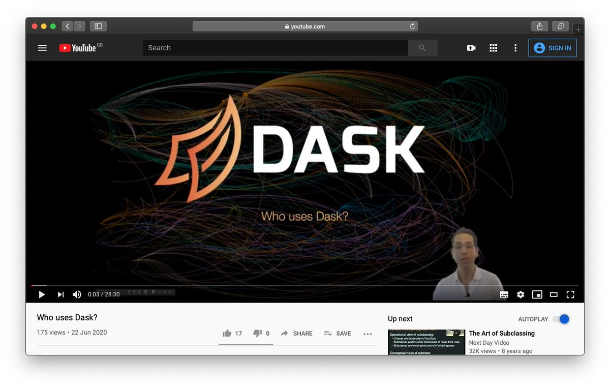 Screenshot 'Who uses Dask?' YouTube video