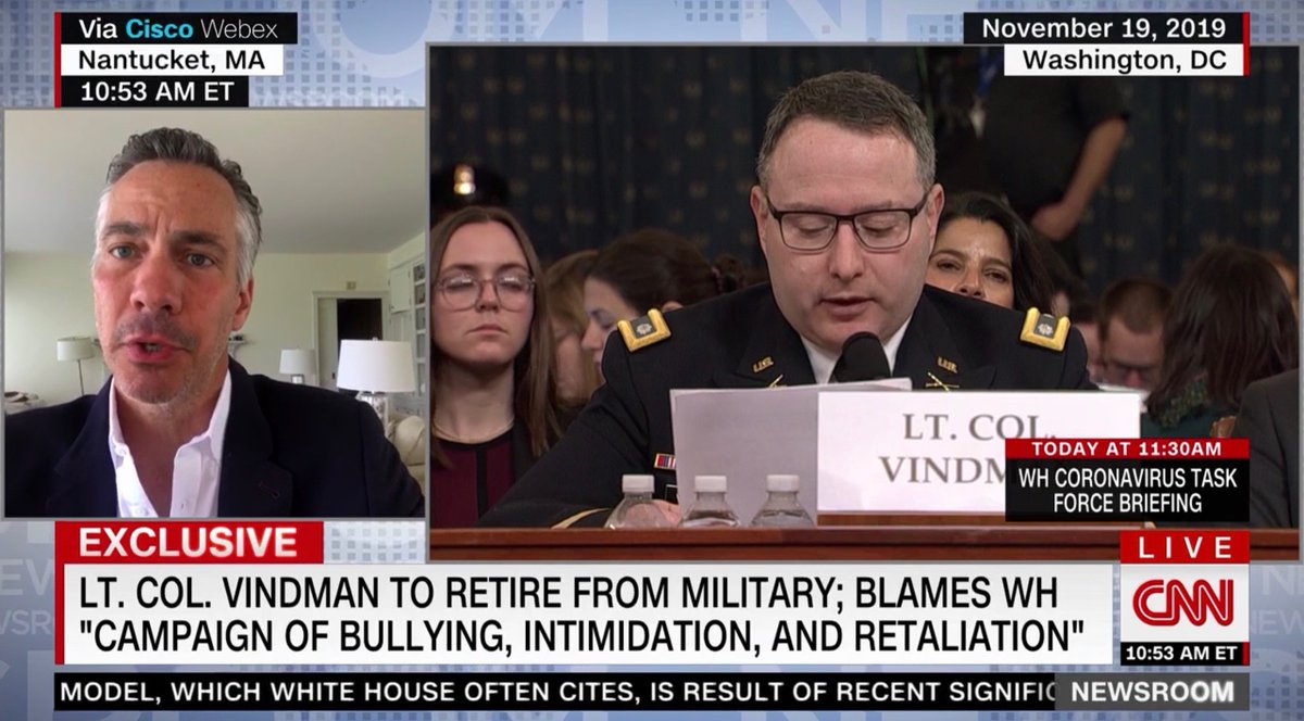 "#BREAKING Lt. Col. #VINDMAN to Retire From Military; Blames White House Campaign of Bullying, Intimidation, Retaliation, @jimsciutto reports.  So much for ""Don't worry, Dad. I'll be fine"" for testifying on Trump withholding of Ukraine security aid that led to Trump's impeachment. https://t.co/vSDkhRvEJw"