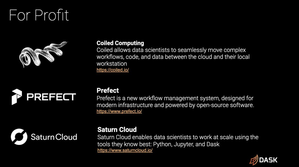 Slide describing the for-profit companies Coiled, Prefect and Saturn Cloud