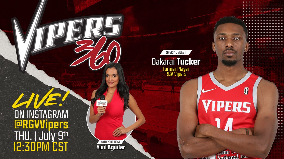 ‼️LIVE ON IG‼️Your #Vipers360 Host, April Marie is going LIVE at 12:30pm CT with Former Vipers Champ, Dakarai Tucker! 🏆Thursday, July 9th! 🐍 @DakaraiTucker   ➡️ https://t.co/21eSZVpdLF  #NBATogether #VipersLive #ActsOfCaring #NBAGLeague https://t.co/UWwGVCnojH