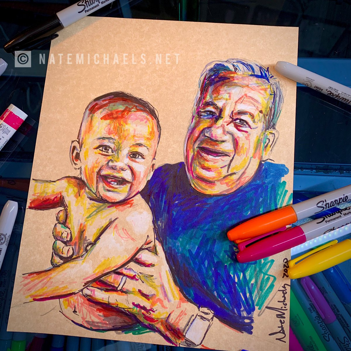 """Drawing memories  DM me here or send me a message at http://NateMichaels.net if you'd like one  .  #sharpie markers on 8""""x10"""" parchment paper  #natemichaels #commissionopen #portraitartist #portraitdrawing #sketch #drawing #dailyart #art #familyportrait #dailydoodlepic.twitter.com/Izj4nUPgXh"""