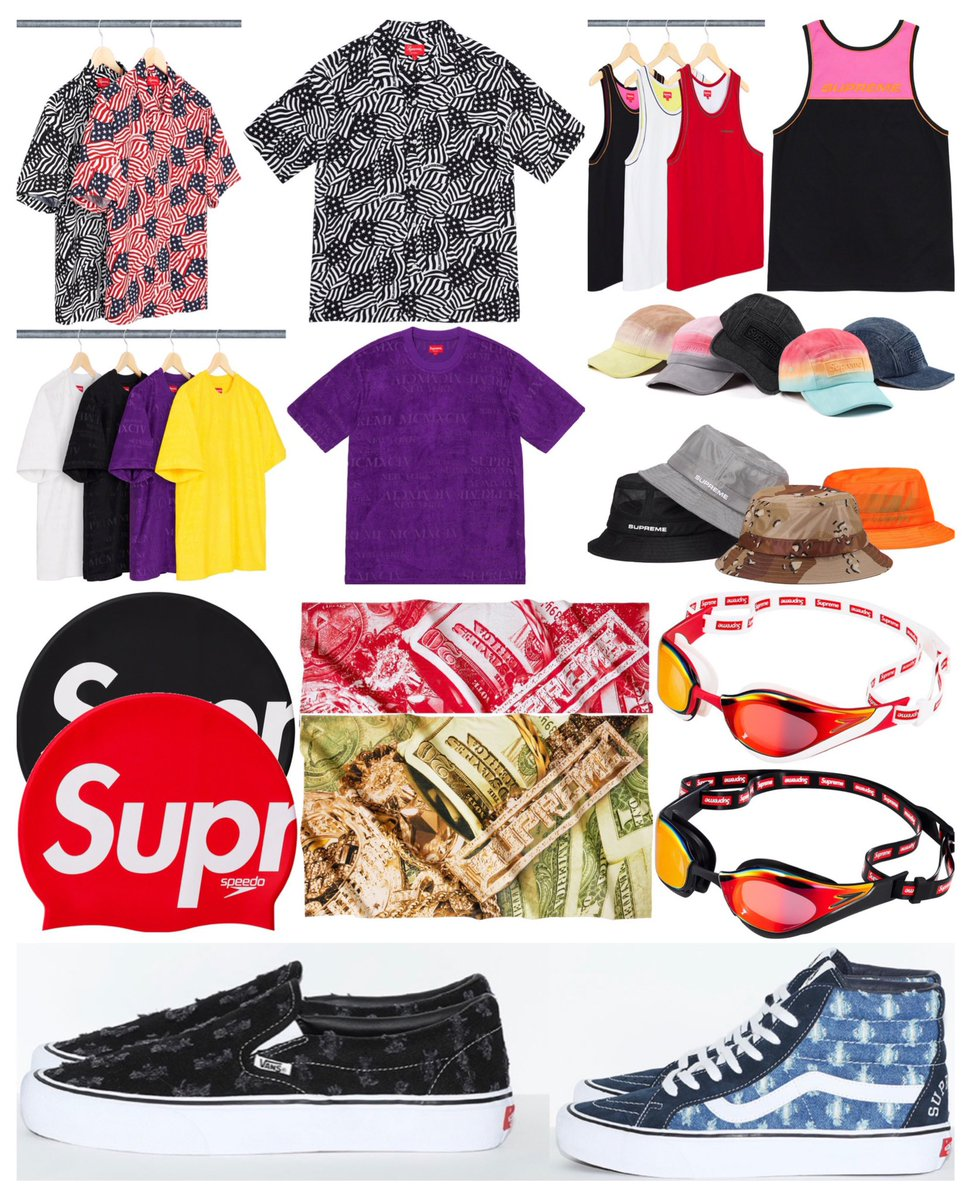 Supreme Week 19  -Hole Punch Denim Vans  -Speedo -Bling Towels  -And More!  Releasing Thursday, July 9th  What are you gonna be grabbing this week?