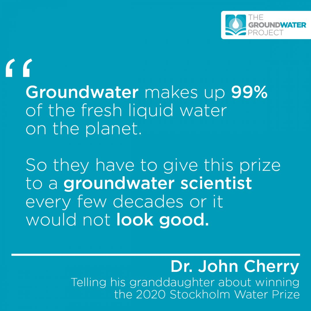 When asked by his granddaughter why he had been selected for the 2020 Stockholm Water Prize, that's what Dr. John Cherry answered.  Join Dr. John Cherry and volunteers from over 95 countries on our way to making groundwater education more accessible: https://t.co/zpFsLYB7XH https://t.co/32xRhV5ZMI