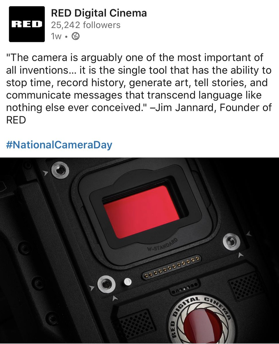 Today, on National Camera Day, we salute the founder of RED Digital Cinema cameras and thank all of the great people at RED HQ in Irvine, California who provide tech information that dramatically influence the beauty of Healthy Long Life docuseries. #NationalCameraDay https://t.co/a3YN3MgQm5