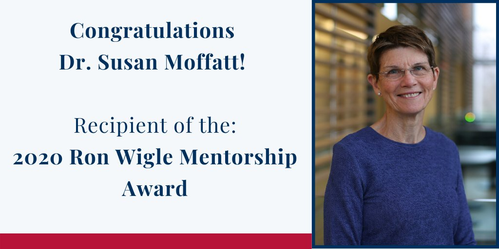 """Congratulations to Dr. Susan Moffatt who is the 2020 recipient of the Ron Wigle Mentorship Award! Dr. Moffatt is recognized as """"an exemplary clinician, teacher and administrator, leaving each patient, student, colleague, lecture, course and committee in a better state"""". #MedEd <br>http://pic.twitter.com/1uTxlVAyTz"""