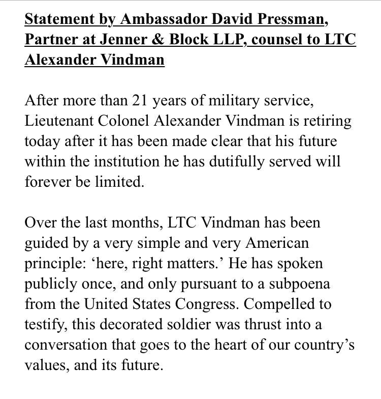 JUST IN: Full statement from VINDMAN attorney on Vindman's retirement.
