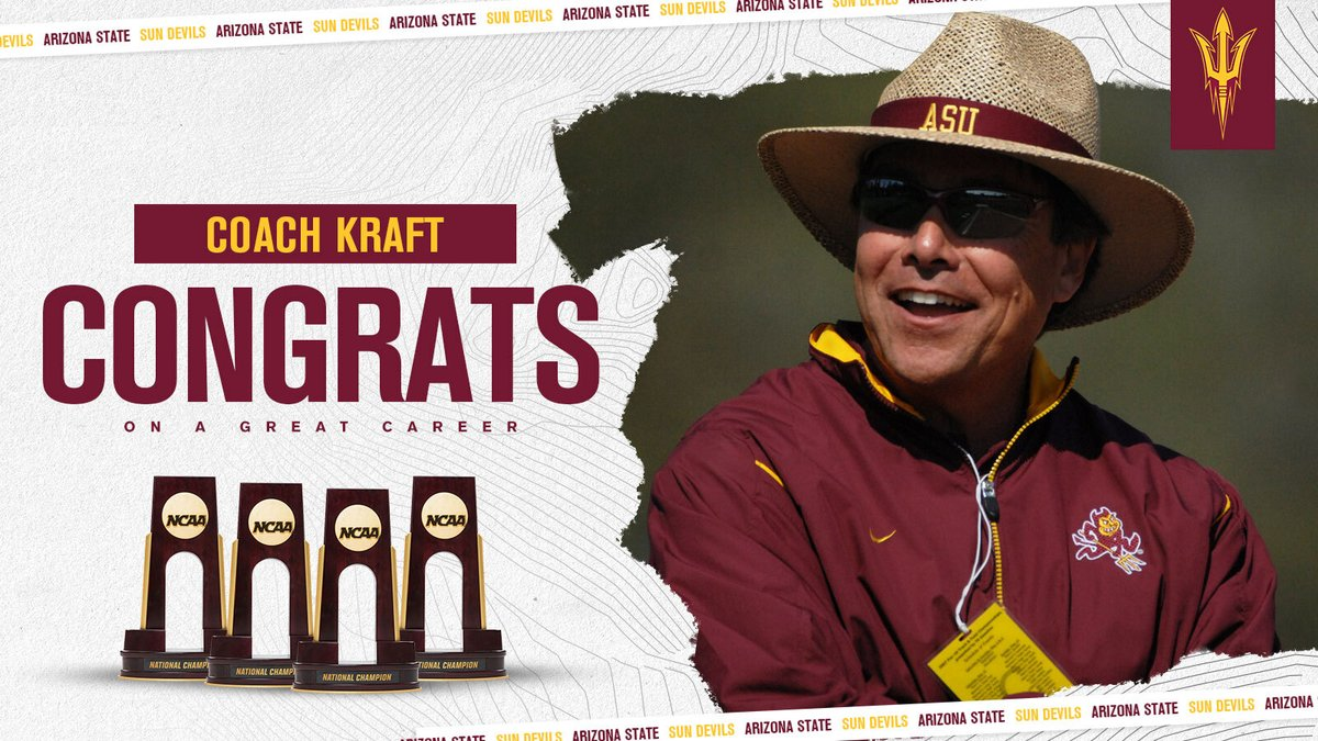 After 24 years at ASU, we say a huge thank you to @CoachGregKraft as he retires. Thanks for the care, the hard work and for all your efforts. See you in the @TheSunDevils HOF soon! https://t.co/sZvbcXgB62 https://t.co/iMEwEYk9i0