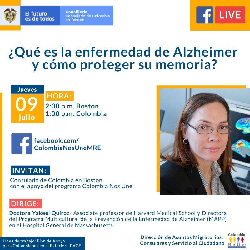 MAÑANA 🧠¿Qué es la enfermedad de Alzheimer y cómo proteger su memoria? 👨💻👩💻Charla organizada por el Consulado de #Colombia en #Boston con el apoyo del programa Colombia Nos Une de @CancilleriaCol.🇨🇴🇺🇸 ✔Dirige la doctora Yakeel Quiroz. https://t.co/vBChR8G3e0