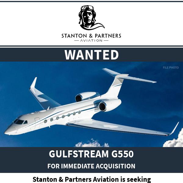 #aicraftwanted - #Gulfstream #G550 at @StantonAviation  Low total time Off market preferred Contact them at: https://t.co/u8XQPkfBcO  #bizjet #bizav #aircraftforsale #privatejet #privateflying #jetforsale https://t.co/vsdRgULZF3