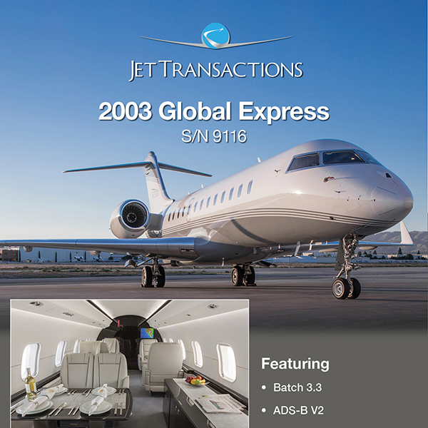 2003 #Global #Express ready for immediate delivery at JetTransactions FANS 1/A Excellent pedigree More details at: https://t.co/4dZnXPIPC8  #bizjet #bizav #aircraftforsale #privatejet #privateflying #jetforsale #businessaviation https://t.co/Xwjn0wia4Y