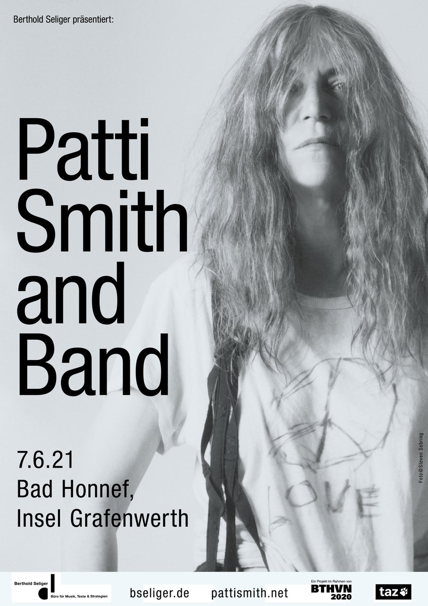 "Patti Smith & Band, Zusatzshow D-Tour 2021: 7.6.2021 Bad Honnef, Insel Grafenwerth (open air) Neben ihrem ""normalen"" Programm auch zusätzlich eine Beethoven-Auseinandersetzung.  VVK-Start morgen, Do, 9.7.2020, 10:00 Uhr. #BTHVN2020 #PattiSmith  https://www.bseliger.de/kuenstler/patti-smith …pic.twitter.com/UEJ84G2uoY"