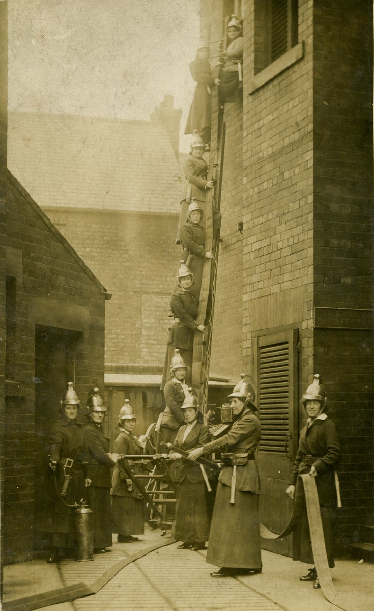 A particular favourite; #Jarrow Ladies' Fire Brigade, 1916. The image was taken in Back Wylam Street, Jarrow. Those helmets look heavy! #museumsfromhome