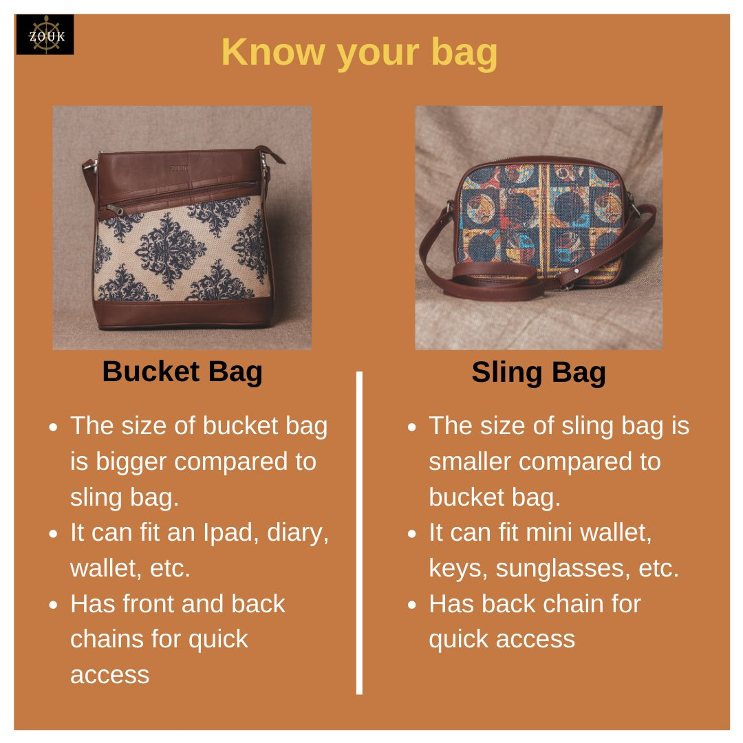 Bucket bag or Sling bag - Which one is your favourite? Comment below your answer.   Check out our website for more collection http://zouk.co.in  #laptopbags #messengerbag #knowyourbag #veganbags #zoukbags #veganleather #perfectbag #indianprints #crueltyfree #proudlyindianpic.twitter.com/Jhz0m73LkT