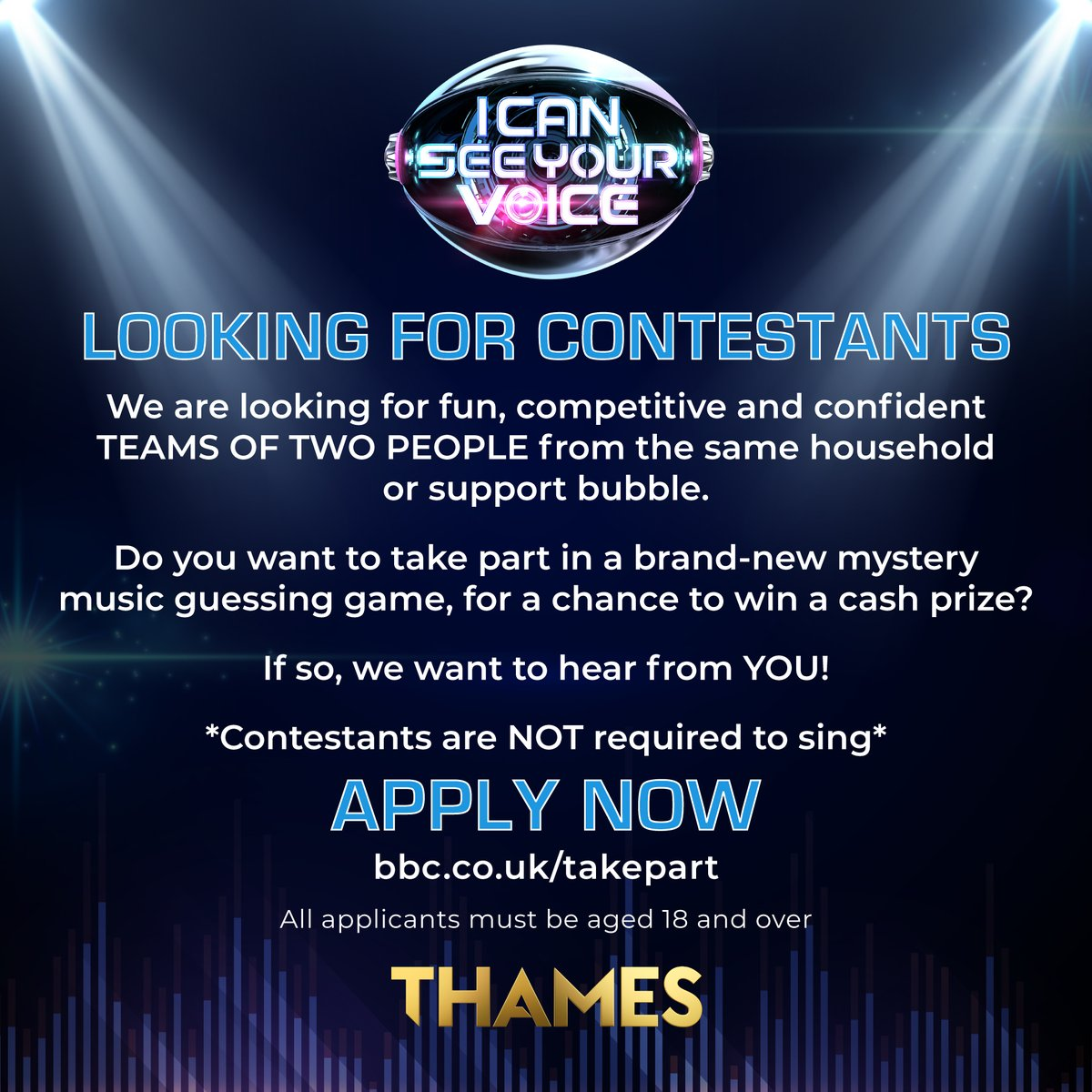 Could you tell a genuine singer from a professional lip-syncer?🤨  We're looking for fun, competitive and DYNAMIC duos to take part in our BRAND-NEW mystery music gameshow, I Can See Your Voice 🎶  Think you've got what it takes to WIN BIG?🤑  Apply now: https://t.co/ywS8Xiyz7f https://t.co/c3l3d4RAD9