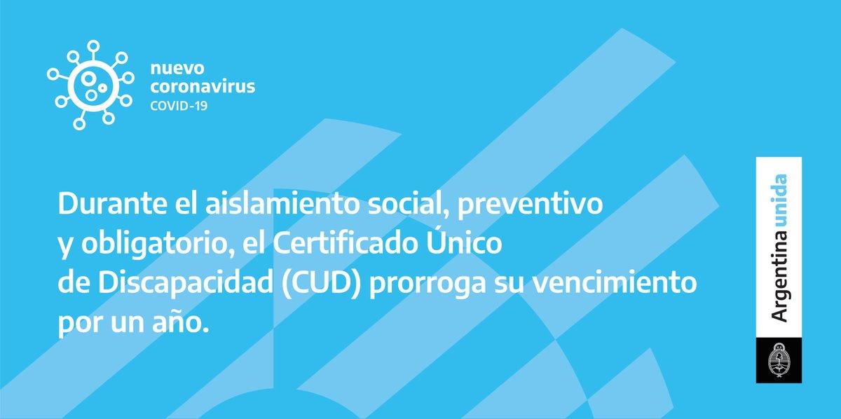 Se prorrogan por un año los Certificados Únicos de Discapacidad que caduquen en 2020. Por ejemplo, si tu CUD vence el 1 de julio de 2020, tendrá vigencia hasta el 1 de julio de 2021.  Más información: ☎️ (011) 5300-4000 int, 78348/9/50/76631 📩 adajus@jus.gov.ar   #ArgentinaUnida https://t.co/9nGFKBmtWM