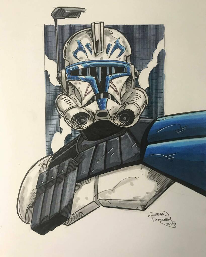 Captain Rex sketch finished.   #captainrex #clonewars #starwars #starwarstimeshow #starwarsart #clonetrooper #copicmarkers #seanforney https://instagr.am/p/CCYqpX0B0b9/pic.twitter.com/r5lDqEoBk0