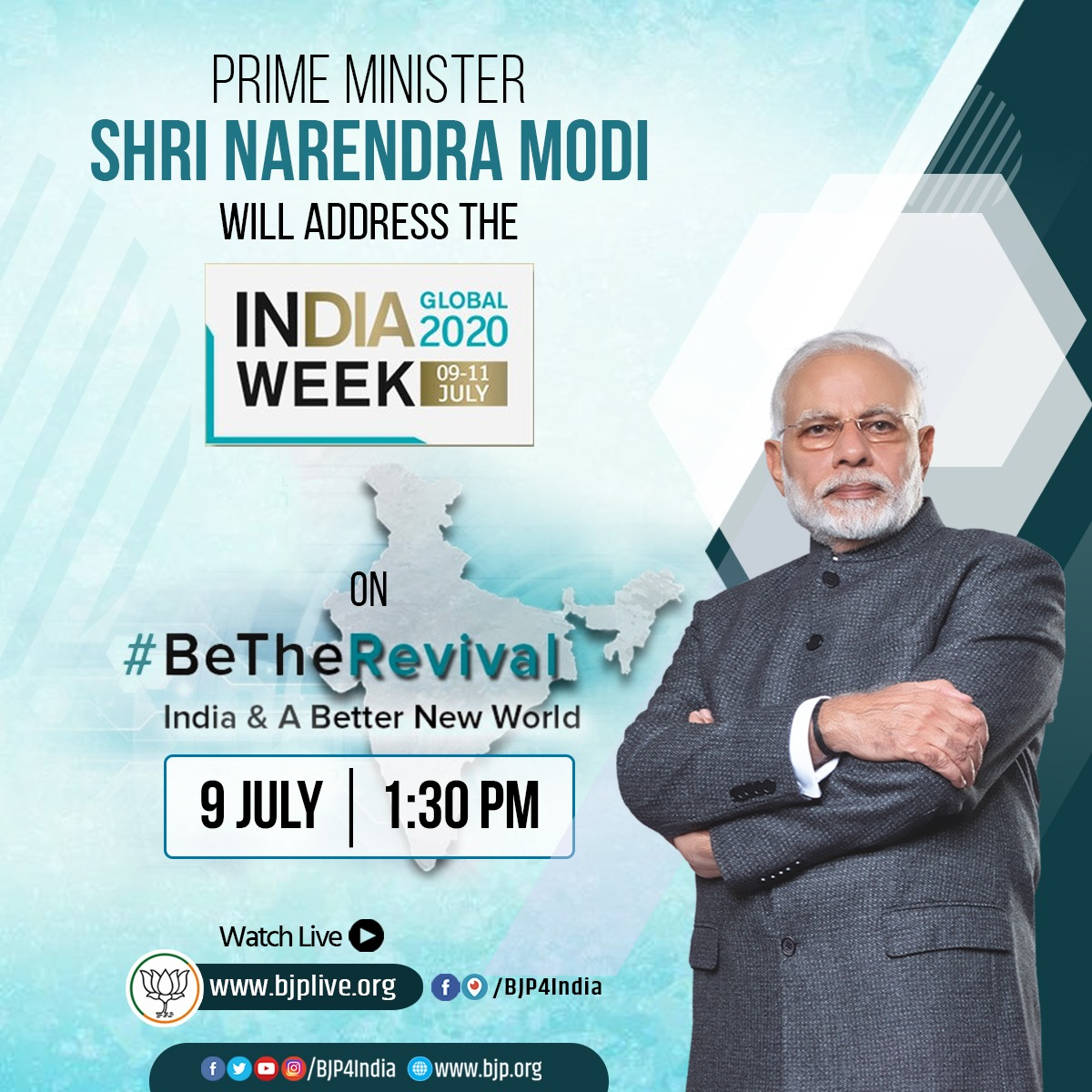 Watch PM Shri @narendramodis inaugural address on Be The Revival at India Global Week 2020 at 1:30 pm on 9th July 2020. LIVE at • facebook.com/BJP4India • pscp.tv/BJP4India • youtube.com/BJP4India • bjplive.org