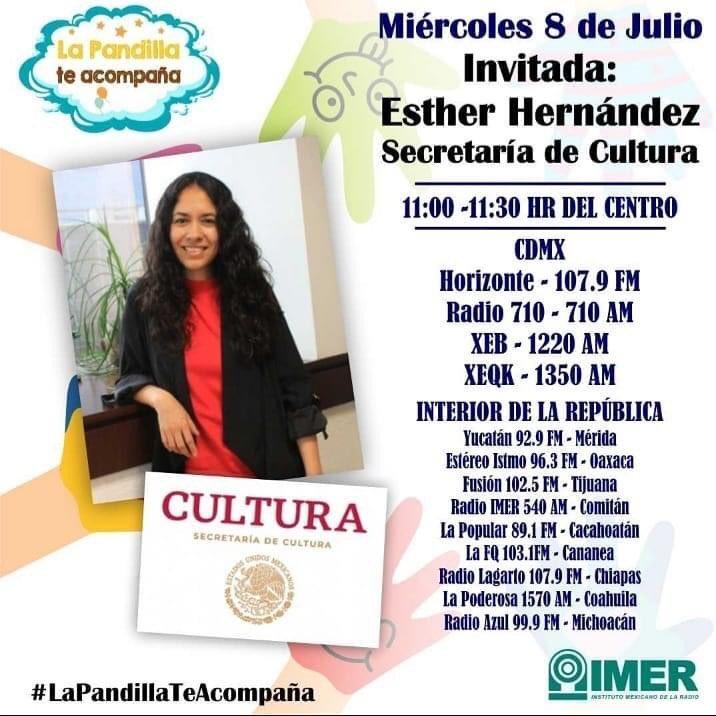Ya estamos al aire en #LaPandillaTeAcompaña hoy hablaremos de #SemillerosCreativos y #HojasAlVuelo #ContigoALaDistancia de  @cultura_mx Escúchanos en las estaciones del @imerhoy https://t.co/ouWbZUQtmf