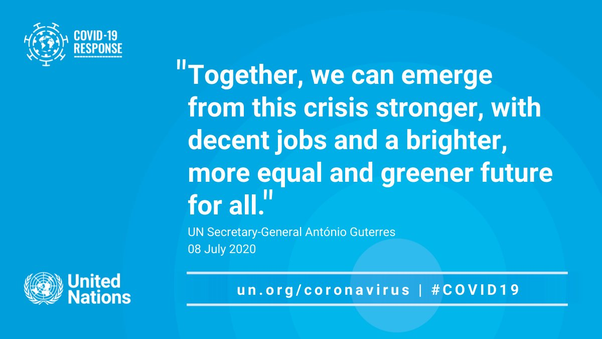 """""""Together, we can emerge from this crisis stronger, with decent jobs & a brighter, more equal & greener future for all.""""  -- @antonioguterres at the #ILOSummit calls for a sustainable recovery from #COVID19 to create a better future. https://t.co/FIoFn4DZML https://t.co/jsHuXzQCEl"""