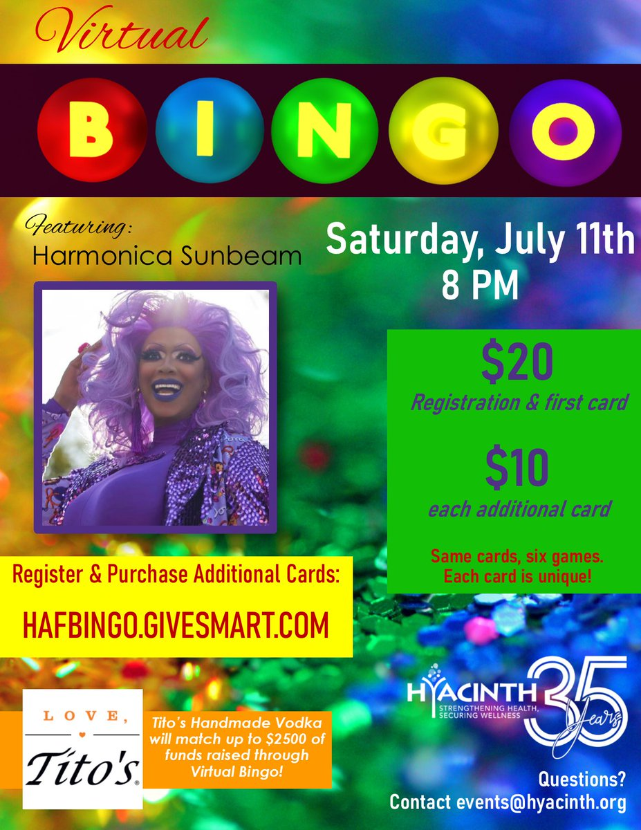 Get your tickets B4 it's too late!  (Did you see what we did there?)  We are so excited that Tito's Handmade Vodka will match up to $2,500 of funds raised through Virtual Bingo! Can you help us reach that goal? #SupportHyacinth #DragBingo #Hyacinth35pic.twitter.com/ymlQxn9j7X