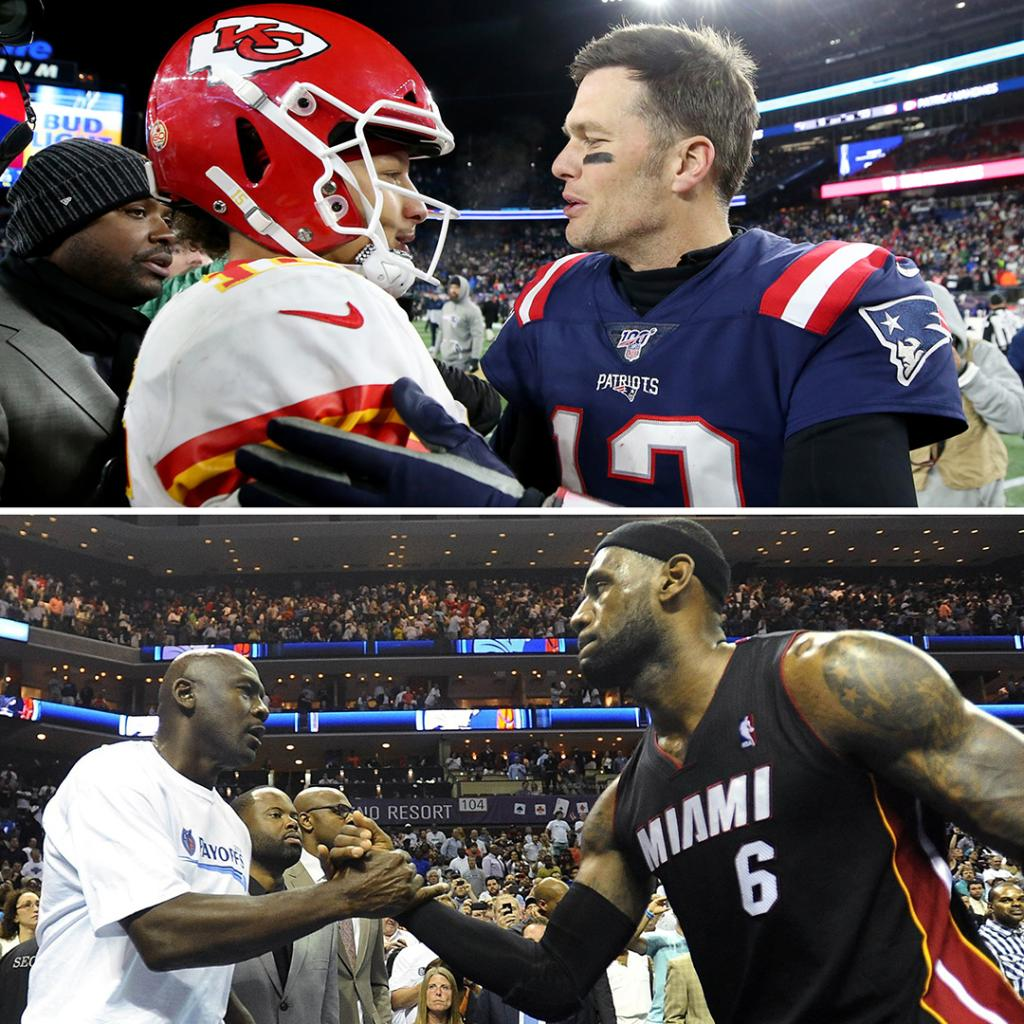 """In 10 years this MJ vs. LeBron conversation will turn into Brady vs. Mahomes."" —@Espngreeny.   Are we looking at a new GOAT debate down the road? @GetUpESPN 🐐🤔 https://t.co/SDvJvCcfBX"