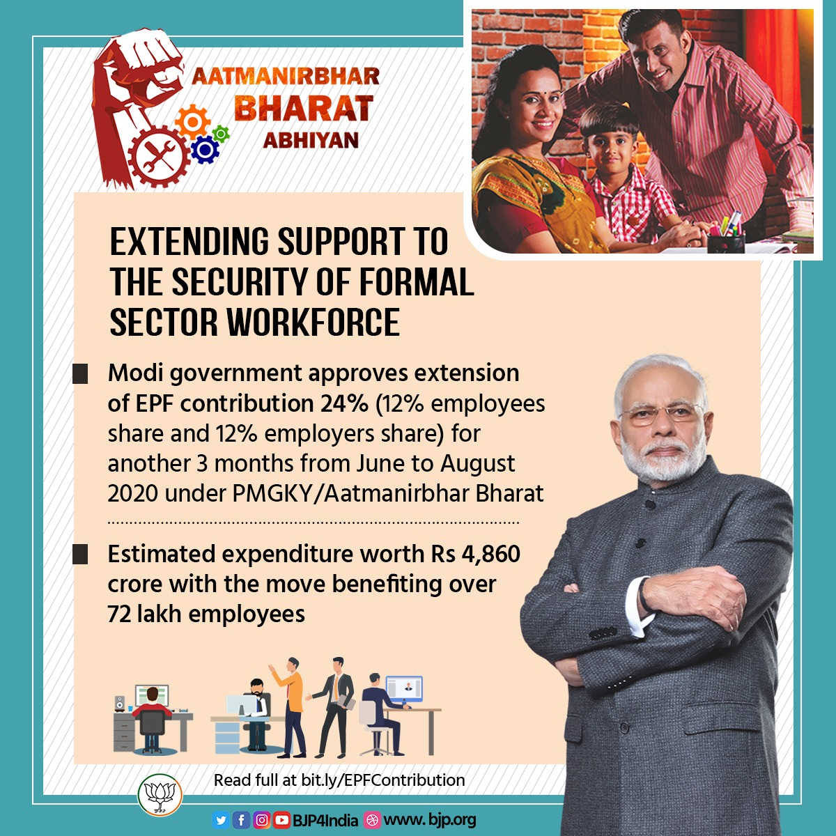 Extending support to the security of formal sector workforce. Modi government approves extension of 24% EPF contribution (12% employees share and 12% employers share) for another 3 months form June to August 2020. #AatmanirbharBharat