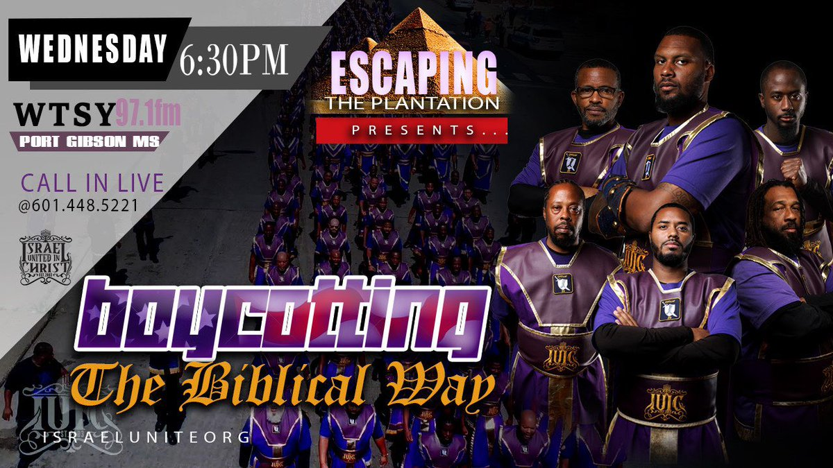 Today at 6:30 PM CST on WTSY 97.1 FM Escaping the Plantation presents: Boycotting the Biblical Way. You don't want to miss it. Follow along with your #bible #pen and #notepad. Please be sure to #share, #like, and #comment. We'll be live on Facebook live.pic.twitter.com/klX63VuAxz