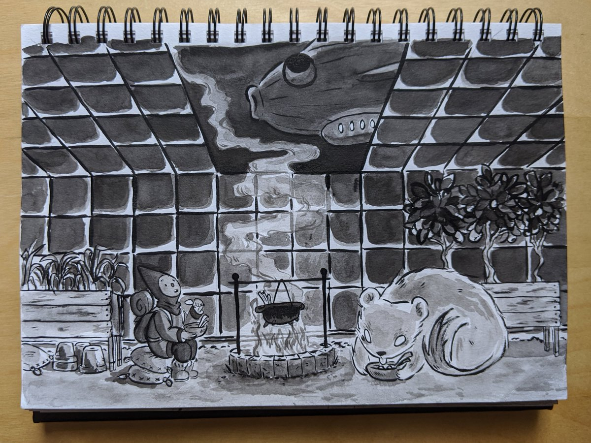 19 - greenhouse  today's ink pieces are allll fish dirigible related! sidenote i kind of want potato soup now  #inktober2019 #ArtistOnTwitterpic.twitter.com/NweLodVXWN