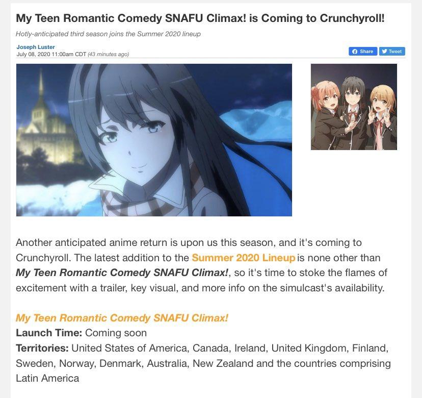 Crunchyroll picked up Oregairu S3 LET'S GOOOOOOOO!