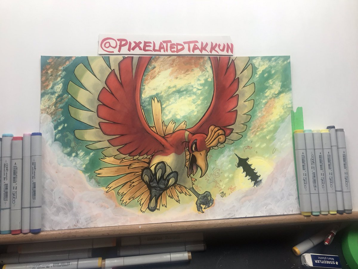 Happy #WIPWednesday! Here's a #HoOh piece I worked on a bit over the weekend! Still need to add some lighting and background details. What are you guys working on? #pokemon #wipw #wip #wipart #pokémon #pokemonart #heartgold #copic #copicart #copicmarkers #copics #copicartistpic.twitter.com/PuuhCvYEA5