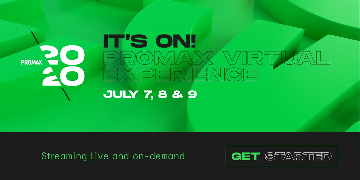 Are you ready for Day 2 of the Promax Virtual Experience? Tune in for BETs Jeanine D. Liburd, the Art of Title Design, PopN Creatives Lori Hall and Jessica Lane Alexander, and the New Best Practices with Lee Hunt. See you there!