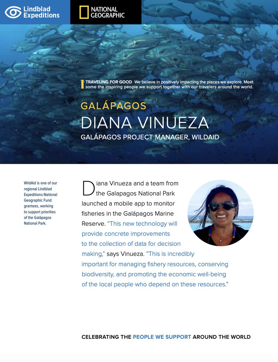 For our second edition of Celebrating People, we're spotlighting Galápagos Project Manager Diana Vinueza, who helps monitor fishers in the Galápagos Marine Reserve. https://t.co/0SH4m9aa42