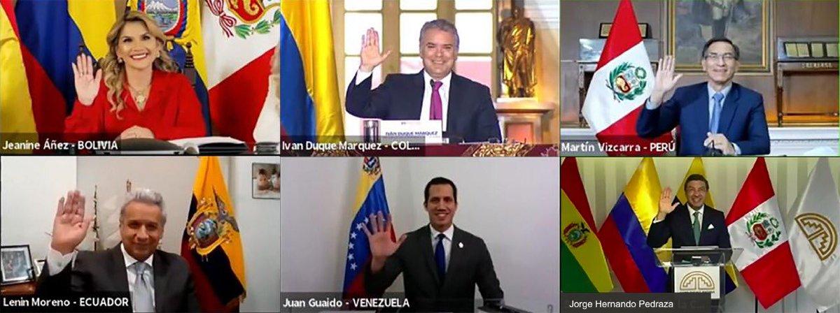 ¡Importante reunión en el marco de la @ComunidadAndina con los presidentes de Perú, Colombia, Bolivia y Juan Guaidó! Acordamos tomar acciones JUNTOS, con decisiones que trasciendan la coyuntura para reactivarnos como región ¡Vamos por buen camino! #ReactívateEcuador https://t.co/6R00Ctpt76