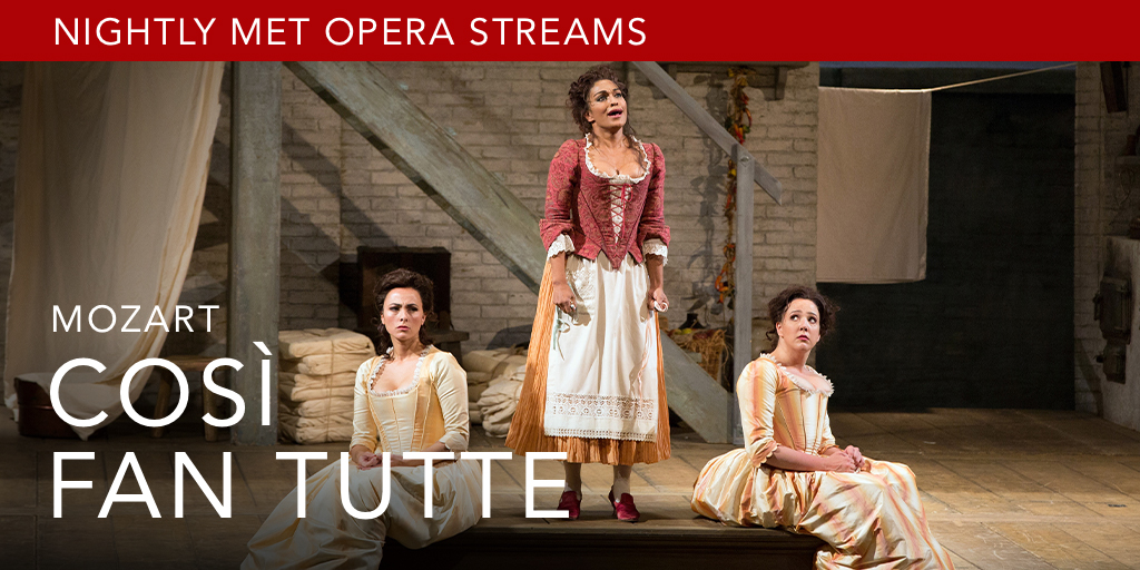 1/ An ensemble of extraordinary Mozart singers stars in tonight's Nightly Met Opera Stream of Così fan tutte. Available July 8 at 7:30PM EDT until July 9 at 6:30PM EDT.  📸: Marty Sohl  Watch: https://t.co/DF5kVMkD7w https://t.co/sYfZCMtb3n