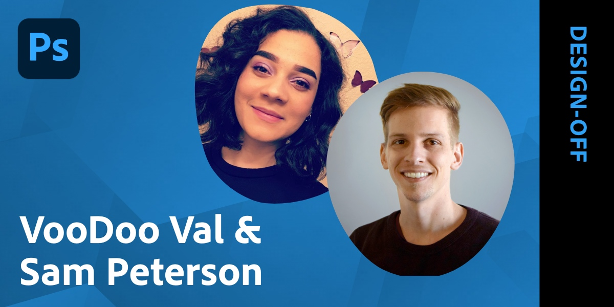 Join @VooDoo_Val & Sam Paterson for a LIVE digital Design-Off in @Photoshop! They'll use random word generation & crowdsourcing from our live chat for the ultimate - but friendly - battle of the design minds: https://t.co/MIEFQVLg4m https://t.co/FZsgJPf9sV