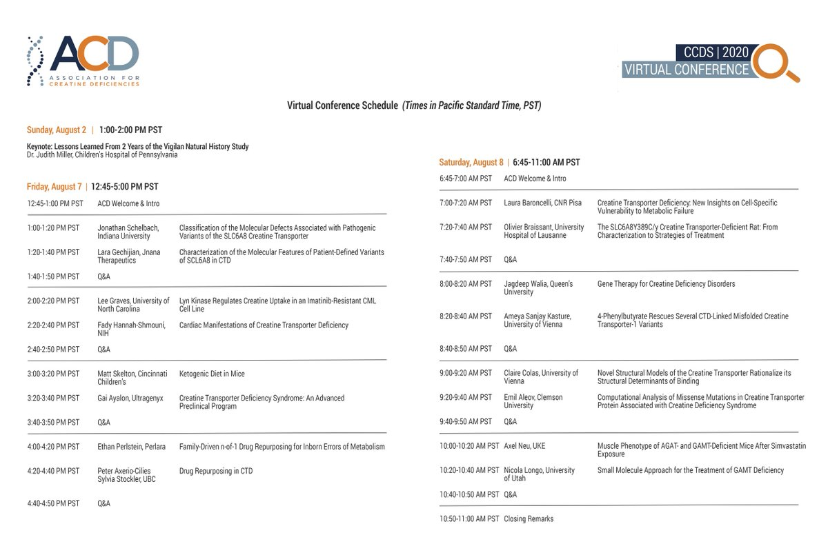 The CCDS Virtual Conference (tentative) Schedule is live! Join us virtually on August 7-8, 2020.  Featured speakers include world-renowned scientists already part of our research network as well as researchers that are new to our community. Register now: https://creatineinfo.org/event/virtual-conference-2020/ …pic.twitter.com/Yqs4qpMgYO