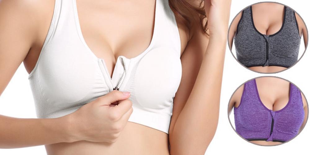 #beautiful Trendy Breathable Women's Zipper Sports Bra