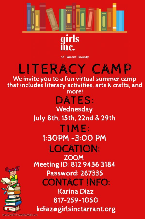 Our Literacy Camp for 1st-3rd graders is going virtual every Wednesday this month! pic.twitter.com/6yqbSVNL3j
