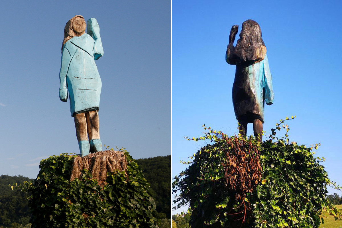 Melania Trump Statue Set On Fire In Slovenia Us News 247 News Around The World