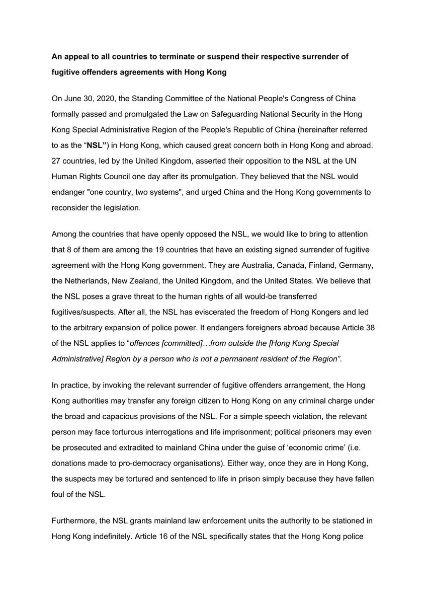 I have issued an open letter appealing to countries — #Australia, #Finland, #Germany, the #Netherlands, #NewZealand, the #UK, and the #US — that have signed extradition treaties with Hong Kong to suspend such arrangements. Hong Kong no longer enjoys the rule of law. https://t.co/zWNH923DFn
