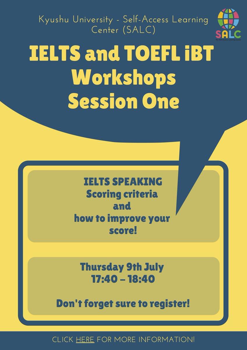SALC IELTS & TOEFL iBT Workshops - Starts today! Link: https://docs.google.com/forms/d/e/1FAIpQLSeFDykq0c36WujTKCi0Q5qiyNCLGg3qmLxwMscWnzIpwOloGQ/viewform… #Kyudai #IELTS #TOEFL SALCのIELTS & TOEFL iBT ワークショップ - 今日から始まります!リンク:  https://docs.google.com/forms/d/e/1FAIpQLSeFDykq0c36WujTKCi0Q5qiyNCLGg3qmLxwMscWnzIpwOloGQ/viewform… #九大 #IELTS #TOEFLpic.twitter.com/i7sx4mF0Hm