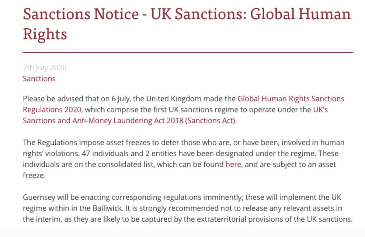 Looks like the Island of Guernsey has joined Jersey and the Cayman Islands I'm applying Magnitsky sanctions and freezing all accounts in their jurisdiction named in the U.K. Magnitsky sanctions list released on Monday. https://t.co/Qq2dBKL0gh