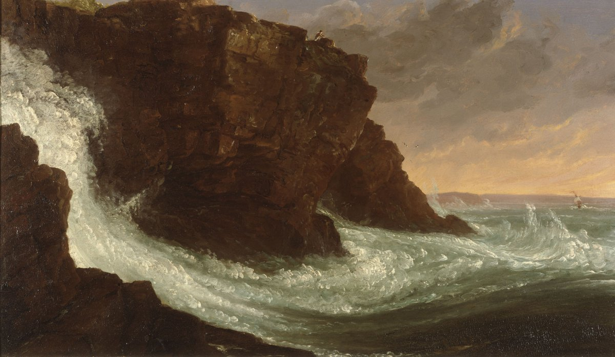 #MuseumMomentofZen | Frenchman's Bay, Mount Desert Island, Maine by #ThomasCole (1801-1848) from 1844 |  http:// ow.ly/GJZq50AsK4P     [Oil on wood panel, Albany Institute of History & Art Purchase, Evelyn Newman Fund, 1964.69] #AlbanyNY #Maine #MuseumFromHome #Ocean #MountDesertIsland <br>http://pic.twitter.com/x9BzpxO03c