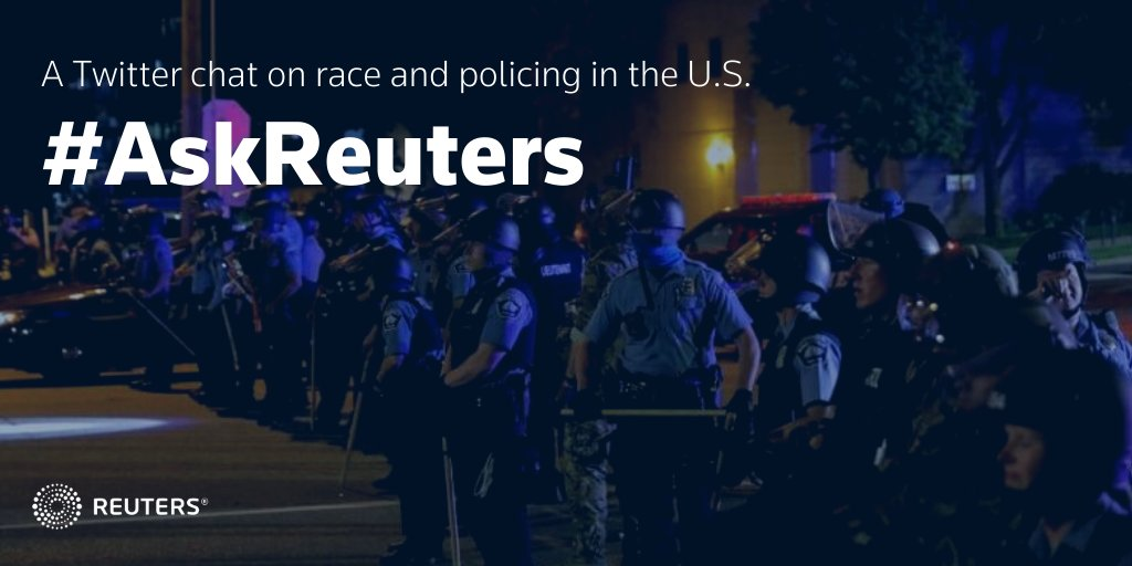 Welcome to the #AskReuters Twitter chat. For the next hour we will discuss race and policing. If you have a question, be sure to include #AskReuters. Follow our experts here: https://t.co/DfwtqPs1ML https://t.co/vct6bNIjvt
