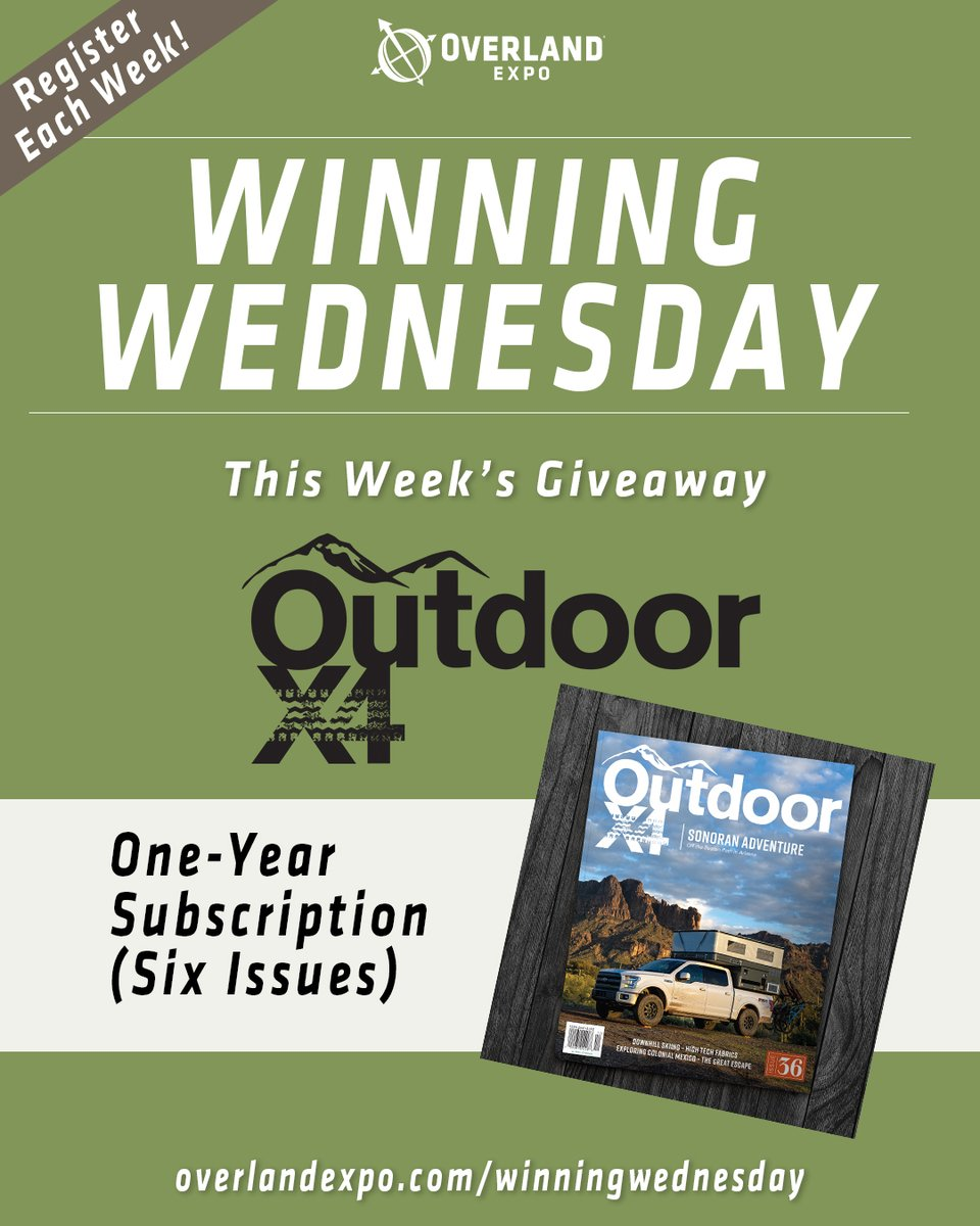 Enter to win a 1 year subscription to @OutdoorX4 Magazine!  Visit https://bit.ly/3gsKB7R   to enter and for rules/terms.  #overlandexpo #ox4mag #outdoorx4 #overlanding #offroad #adventure #giveaway #free #adventure #explore #contest #toyota #jeep #nissan #landroverpic.twitter.com/eulMbH3e3c