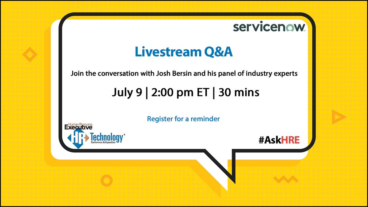 Join us July 9 for a follow-up live Q&A with @Josh_Bersin and other #HR #leaders to learn #bestpractices from their #returntowork playbooks, as they offer insights on improving #companyculture and maintaining #workplace #safety. Register & join #AskHRE at https://t.co/AE399fNV7t https://t.co/y0FojFlzXK