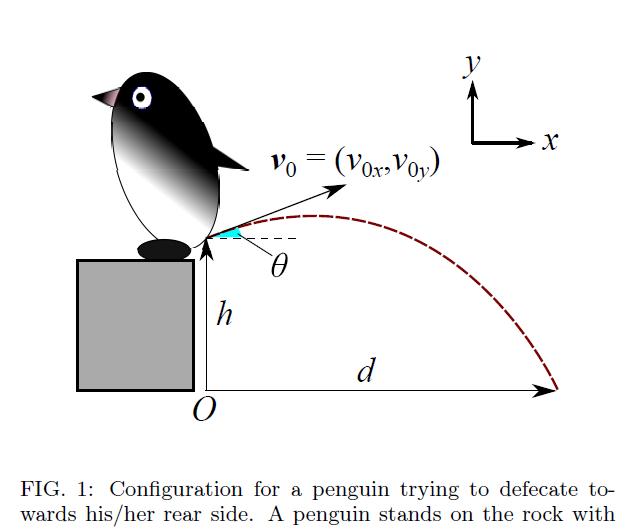 ペンギンの糞の飛ぶ距離の数理モデル。著者は日本人