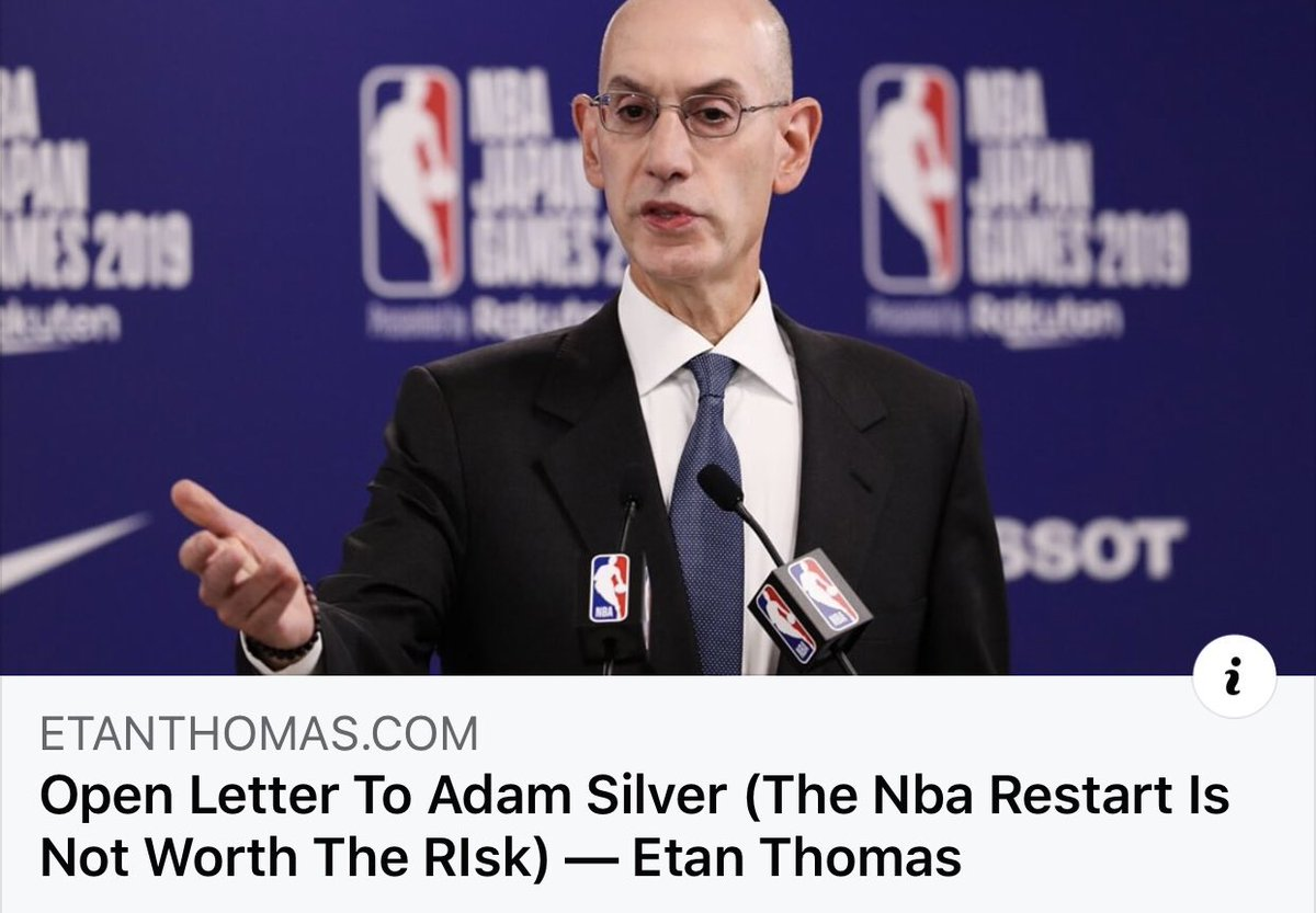 """""""Valuing the lives of human beings over economic motivations is a concept that is absent from #DonaldTrump. You are not him. You are a man with integrity. It's time for you to continue your tradition of responsible leadership and cancel the #NBA season"""" https://t.co/TZI1NfOtto https://t.co/sJenpErBkv"""