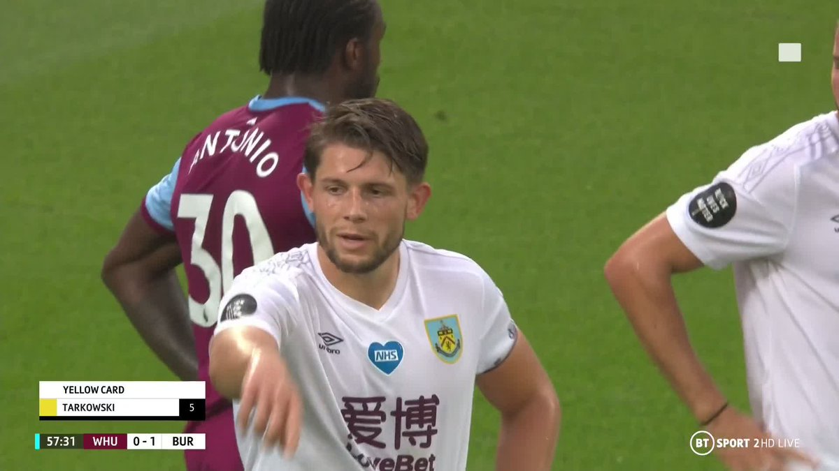 Can James Tarkowski count himself lucky here? His challenge on Jarrod Bowen only produces a yellow card 😬 But @karenjcarney thinks it was worse than Eddie Nketiahs against Leicester...